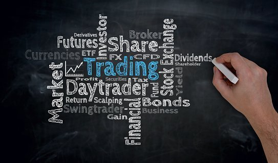 Trading cloud is written by hand on blackboard